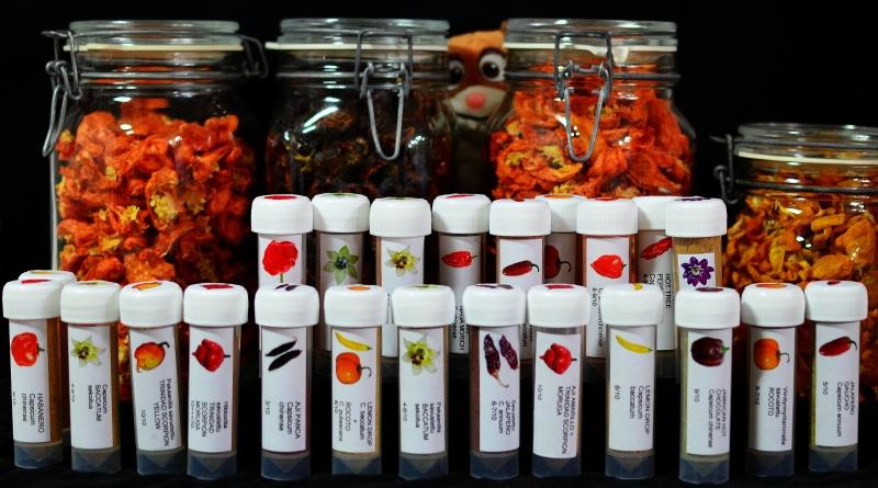 Kuivattua chiliä lasipurkeissa ja etiketeillä varustettuja jauhepurkkeja.